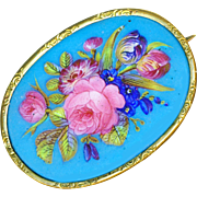 Brooch--Large Victorian Enameled Bristol Glass Roses and Tulips in High Karat Gold Plate
