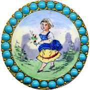 Button--Very Fine Large 19th C. Emaux Peints Figure of Garden Girl with Blue Skirt with Turquoise Pierreries Border