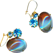 Earrings--BIG Vintage High Dome Saphiret Glass Cabochons & Teal Rhinestones on Wires
