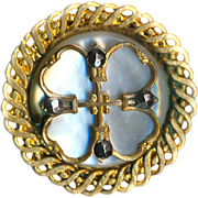 Button--Late 19th C. Pearl in Brass with Quatrefoil Grill Overlay & Cut Steels