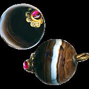 Button--Mid-19th C. Garnet Jeweled Agate Ball Pin-shank--Medium