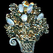 Brooch--Very Large Vintage Hobe Silver and Gold Filled Moonstone Flower Basket