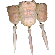 Brooch--Classical 19th C. Angel Skin Coral Bacchus and Bacchantes with Amphora