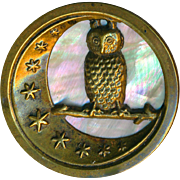 Button--Large Owl in Tree Against Crescent Moon & Iridescent Pearl