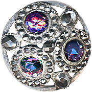 Button--Large Silvered Brass Gay '90  Openwork Sparkly 3 Purple Glass Jewels Cut Steels