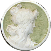 Button--Late 19th C. Milk White Glass Mucha Lady in Headdress & Celery Green
