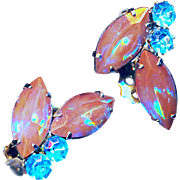 Earrings--Vintage No-name Fine Saphiret Glass Marquise Stones with Round Turquoise Brilliants