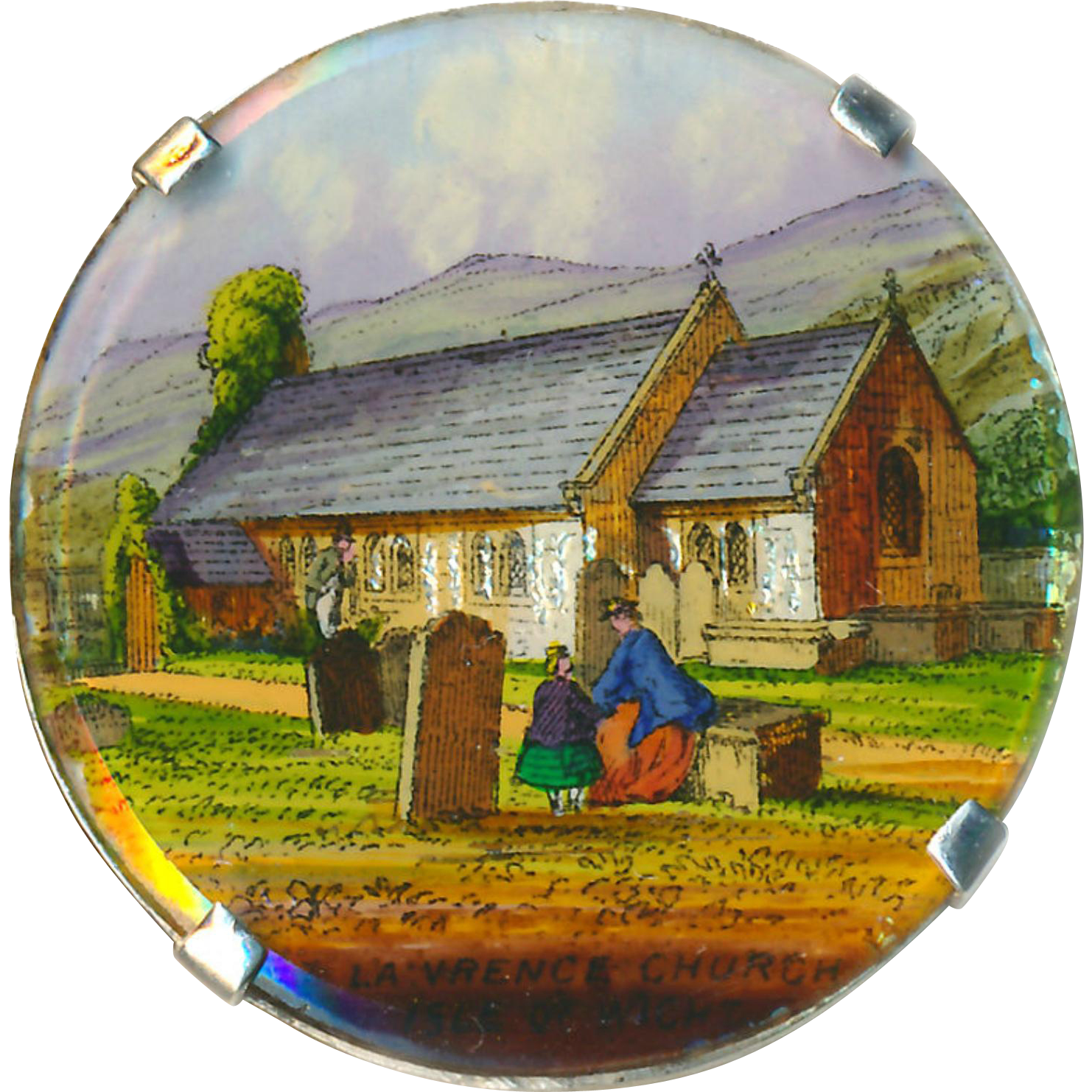 Button--Large 19th C. Reverse Painted and Foiled Glass Transfer of Isle of Wight Church Cemetery in Sterling Silver