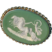 Brooch--Large French Green Jasperware Medallion of Aurora (Dawn) in Sterling Silver