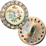Button--Small Hand Painted Floral Porcelain in Open-back Rhinestone Border