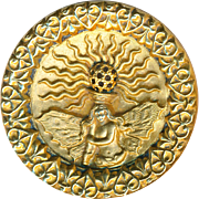 Button--Large Late 19th C. Brass Mythological Fire Fairy with Heart Fleur de Lis Border