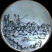 Button--Large Georgian Engraved White Pearl Coaching Scene