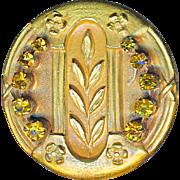 Button--Large Regency Style One-piece Brass & Yellow Rhinestone Jewels