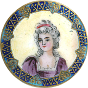 Button--Late 19th C. Emaux Peints Enamel Lady Portrait with Champleve Border