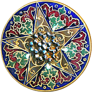 Button--Large Intricate Neo-Renaissance Champleve Enamel Open Filigree Star