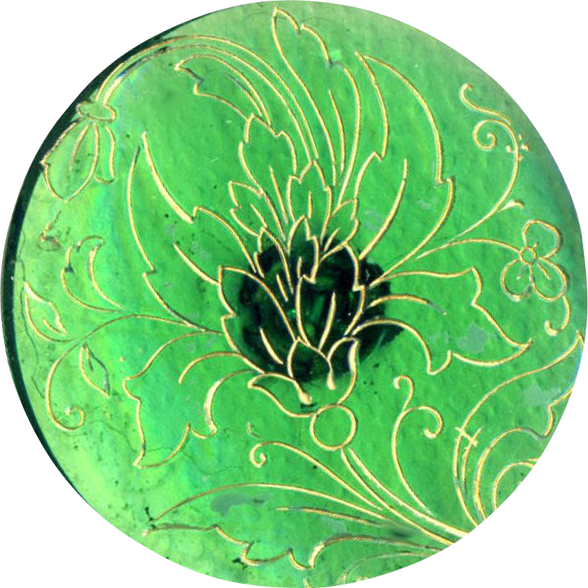 Button--Large 19th C. Art Nouveau Gold Luster Incised Green Glass Foliate Line Design