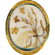 Brooch--Sentimental Large 19th C. Hair Art Under Glass in 14 Karat