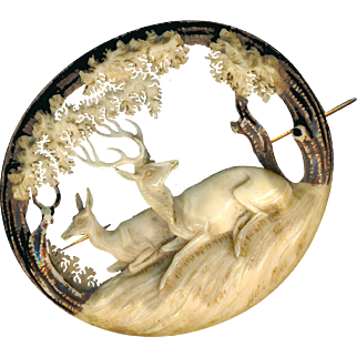 Brooch--Large Mid-19th C. Carved and Pierced Black Forest Stag Horn Doe and Stag