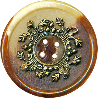Button--Very Large 19th C. Buffalo Horn with Fancy Brass Escutcheon 4-hole