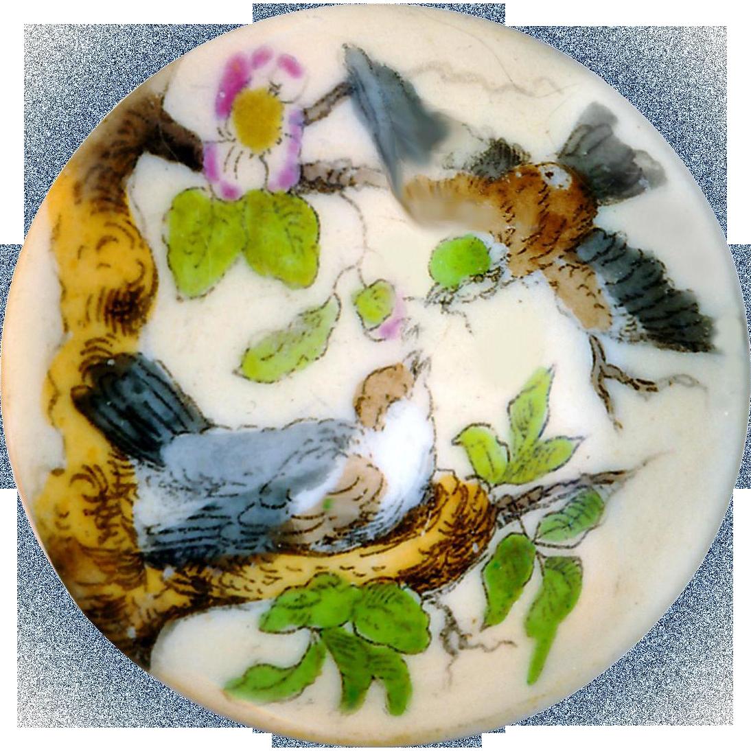 Button--Large 19th C. Mixtion Transfer Porcelain Birds at Nest