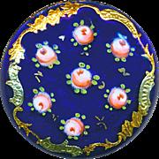 Button--Exquisite Gold Foil Paillons Border Cobalt Enamel with Roses--Medium