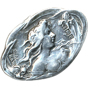 Button--Signed Art Nouveau Asymmetric Cast Sterling Silver Nymph Early 20th C.