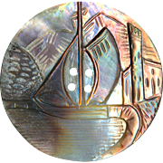 Button--Very Large Hand Carved Iridescent Pearl Sailboat Scene 19th C.