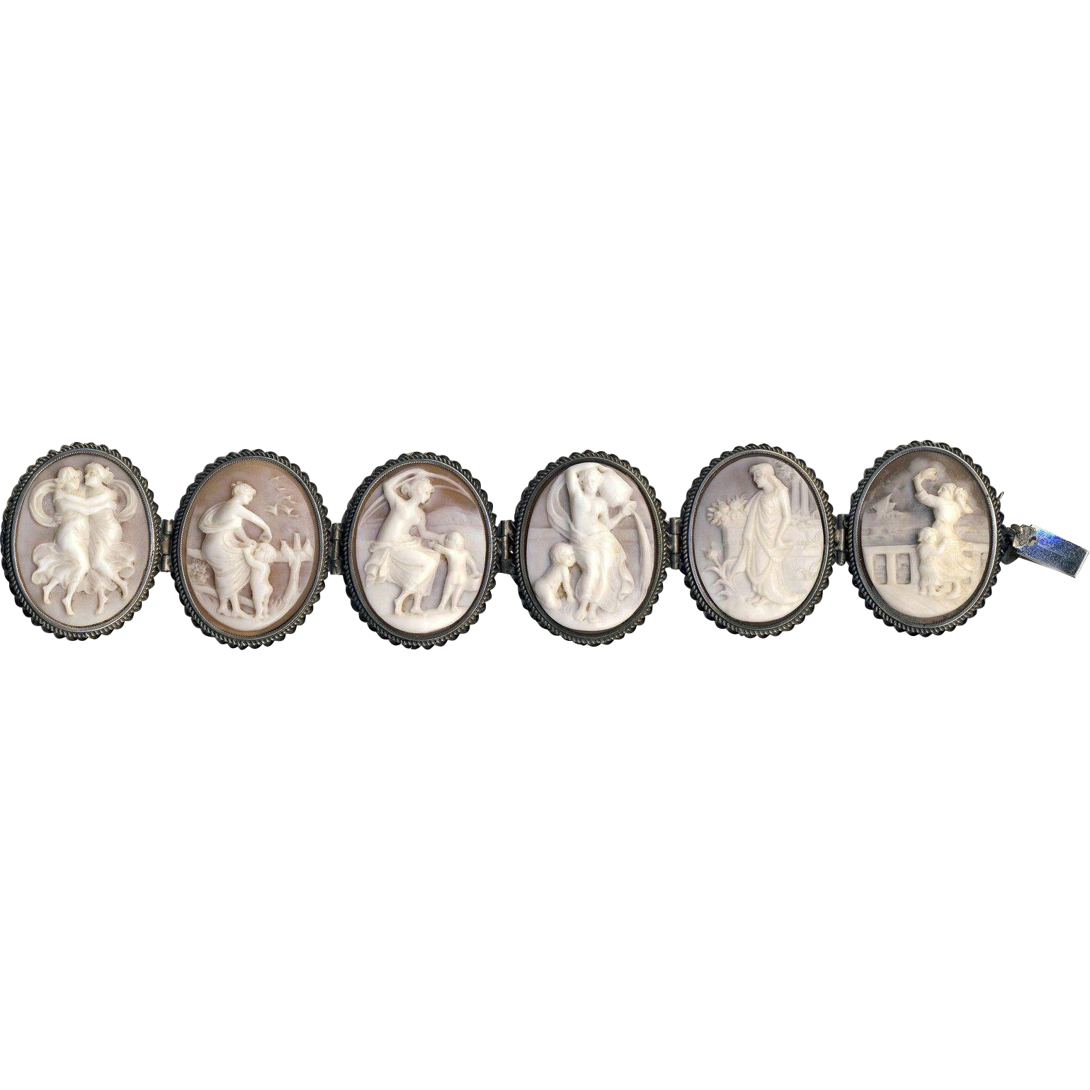 Bracelet--Very Fine Quality 19th C. Large Shell Cameos of Women Waiting in Silver--Some Single Moms Too