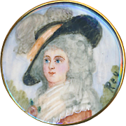 Button--19th C. Portrait Under Glass of 18th C. Aristocrat in Big Hat in Gilded Copper