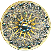 Button--Very Large Mid-19th C Very Fine Lacy Brass Filigree and Mirror Cut Steels
