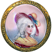Button ~ Very Fine Medium Late 19th C. French Enamel Portrait of Stylish Lady in Cocked Hat