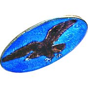 Button--Exquisite Scandinavian Enamel On Sterling Silver Golden Eagle--Boatshape
