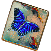 Brooch--Allan Heywood Limoges-style Enamel with Foil Inclusion Electric Blue Butterfly