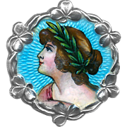 Button--Hand Painted Enamel Pretty Lady in Sterling with Shamrock Border