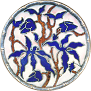 Button--Unusual Large Concave Blue Bamboo Flowers in Open Cloisonne Silver-plated Brass