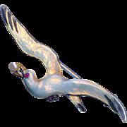 Brooch--Meyle & Mayer Marked Fine Enamel on Sterling Sea Gull with Ruby & Pearl