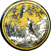 Button--19th C. Fable Fox and Bird Transfer on Porcelain--Medium Small