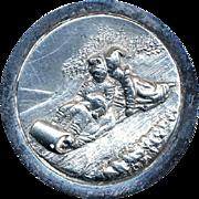 Button--Large Late 19th C. Steel Winter Toboggan Scene