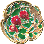 Button--Early 20th C. Concaved Arts & Crafts Enamel Flowers on Copper--Medium