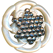 Button--Fine 19th C. White Pearl with Mirror Cut Steels Forming a 5-ray Star