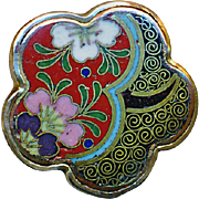 Button--Medium 19th C. Fine Chinese Cloisonne Enamel 5-Lobed