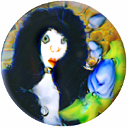 Button--Modern Artisan Lampwork Glass Paperweight Head--Charles II or Cher