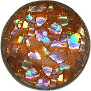 Button--Large Vintage Coppery Glitter & Abalone Pearl Chips Under Glass