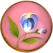 Button ~ Late 19th C. Hand Painted Tulip on Rose Pompadour Pink Enamel in Brass