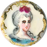 Button ~ Very Fine Quality Emaux Peints Enamel Lady with Gold Paillons--Cobalt Back
