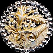 Button--Large Late 19th C. Openwork Scroll & Mirror Cut Steel Foliate