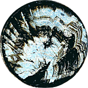 Button--Mid-19th C. Silver & Black Surface Tension Pattern (Moire) Under Glass on Steel Wafer