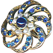 Button--Late Georgian Sapphires & Pearls in Gilded Silver Spiral Medium Size