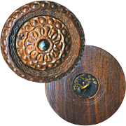 Button--Very Large Georgian Carved & Lathe Cut Wood Pin-shank