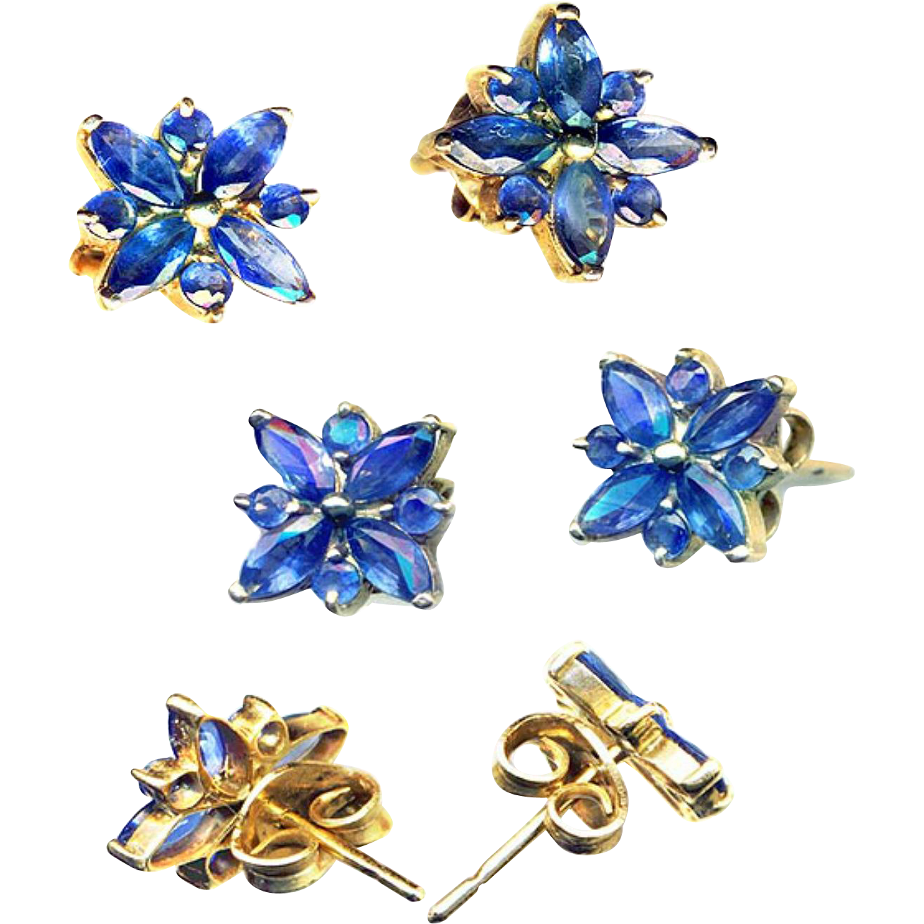 Earrings--Exquisitely Made 14 Karat Yellow Gold and Ceylon Blue Sapphire Round and Marquise Flowers